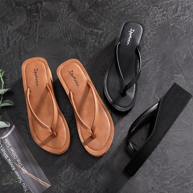 Ipomoea Women Beach Flip Flops 2020 Summer Platform Shoes Woman Fashion Wedges Slippers Female Casual Sandals Slides SH041402