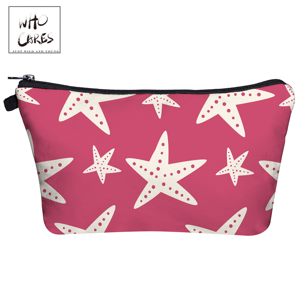 Who Cares Fashion Makeup Bags starfish 3D Printing With Multicolor Pattern Cosmetics Pouchs For Travel Women Cosmetic Bag