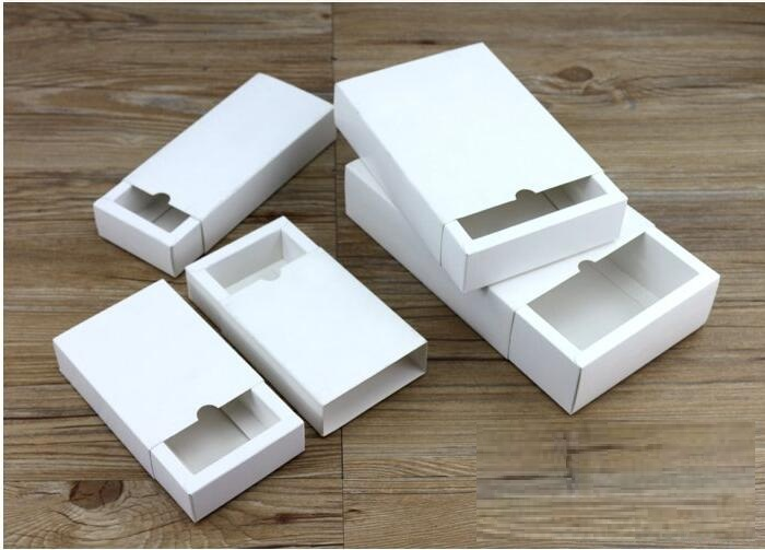 White Paper Drawer Box White Cardboard Box for Gift Packaging Blank