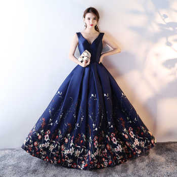 Navy Blue Evening Gowns Long Sexy V-neck Sleeveless Open Back Ball Gown Printed Flower Satin Plus Size Evening Dresses