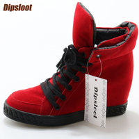 Red Suede Leather Women Lace Up Flats Round Toe Increasing Heel Ladies Casual Style Shoes Autumn