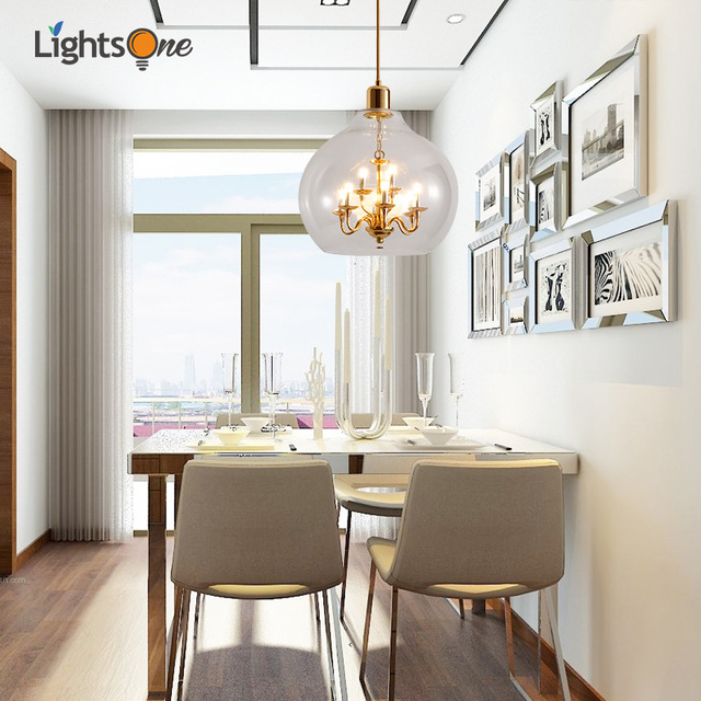 US $85.0 15% OFF|Nordic round living room pendant lamp creative personality  post modern dining room simple glass restaurant small pendant lights-in ...
