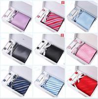 8.5CM Business Tie Cufflinks Pocket Men's Tie Set Wedding Fancy Tie Gift Box cufflinks fashion Slim Wedding Men Suit tie