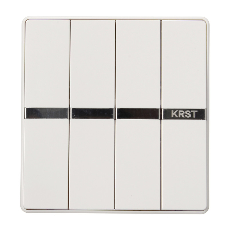 KRST Luxury LED Lighting Switch 4 Gang 1 Way 4 Gang 2 Ways White Push Button