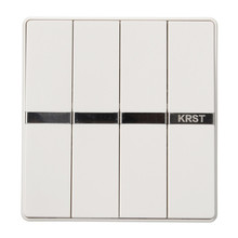 KRST Luxury LED Lighting Switch 4 Gang 1 Way/ 4 Gang 2 Ways White Push Button Wall Switches AC 250V 10A