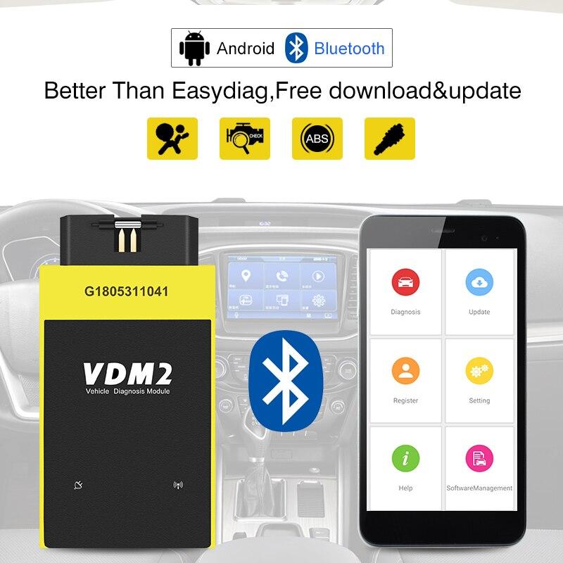 Полная система UCANDAS VDM2 V5.2 Bluetooth/Wifi OBD2 VDM II для Android VDM 2 OBDII сканер кодов PK easydiag обновление бесплатно
