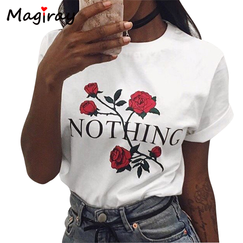 Harajuku Letters Rose Printed Female T Shirt Top Plus Size T Shirt Women 2017 Short Sleeve