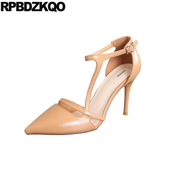 Strap Pointed Toe Designer Female Scarpin Ankle Shoes Brand Office Pumps High Heels Fashion Size 4 34 Runway Women Luxury 2018