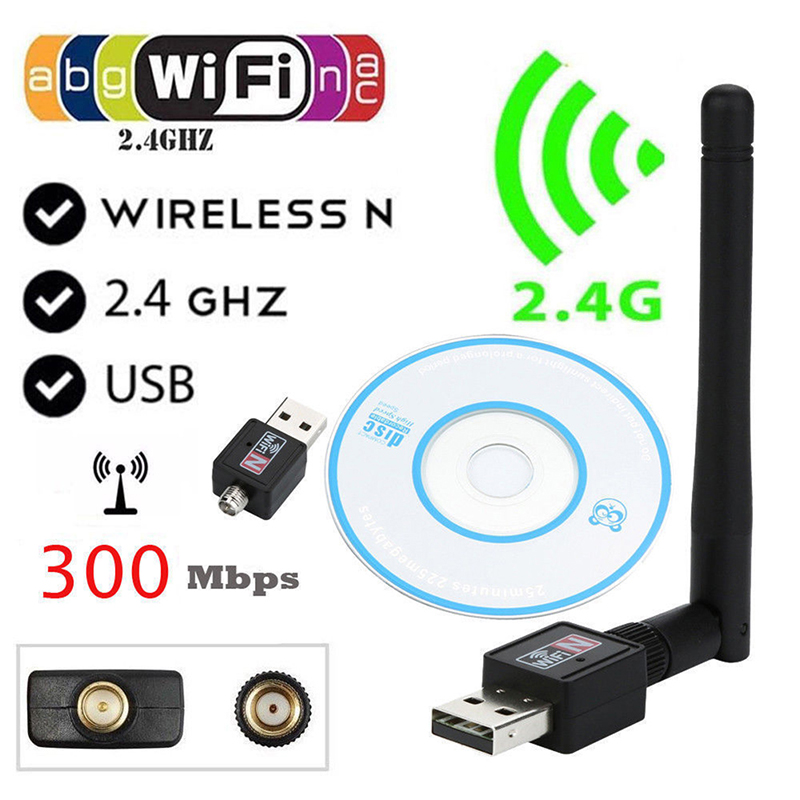 300Mbps USB Wifi Adapter USB 2.0 Wifi Router Wireless Adapter Network LAN Card with 802.11n Antenna for Laptop Computer Network Cards     - title=