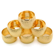 12PCS vintage alloy napkin ring gold / bronze