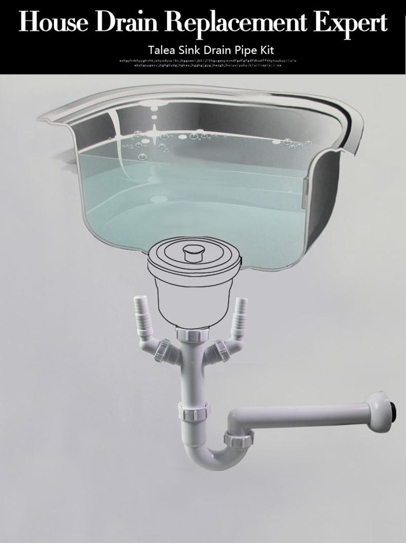 Talea Kitchen Pipe for Kitchen Sink Waste sink drain Pipe kit hoses ...