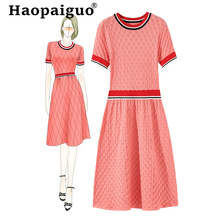 2019 Autumn Contrast Knitted Sweater Dress Women O-neck Basic Wear Modis Midi White Elastic Orange Elegant Dresses