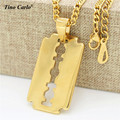 Tino Carlo New Trendy Punk Jewelry S.Steel Gold Razor Blade Necklace  Plated Razor Pendant Necklace Valentines Gift For Men