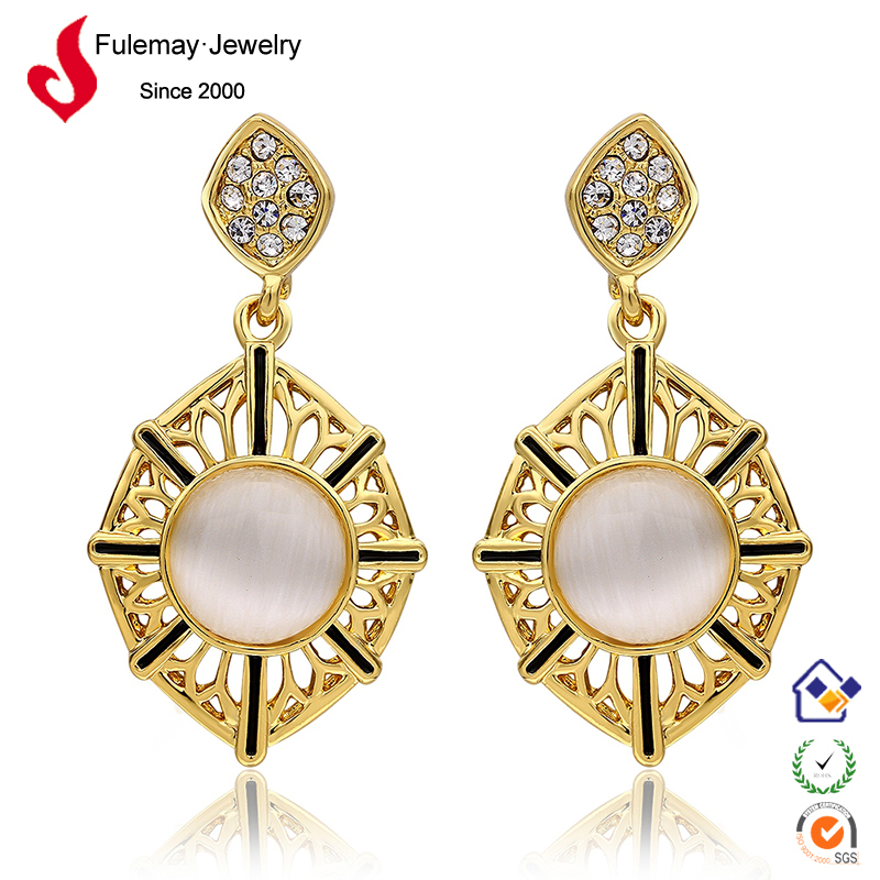 2015 new design gold stud white opal earrings for young girls ...