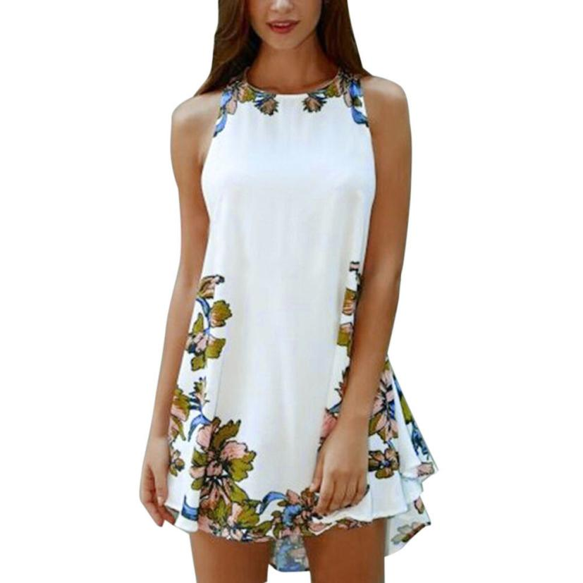 snowshine YLI Women Summer Printed Casual Sleeveless Party Cocktail Beach Short Mini Dress free shipping