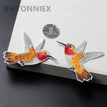 Patch brodé petit oiseau jaune, 1 paire/2 pièces, pour vêtements, matériel de bricolage