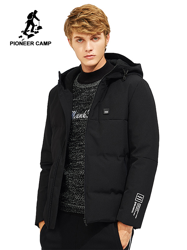 Pioneer Camp winter warm   down   jacket men brand clothing hooded thick duck   down     coat   male quality grey black AYR705306