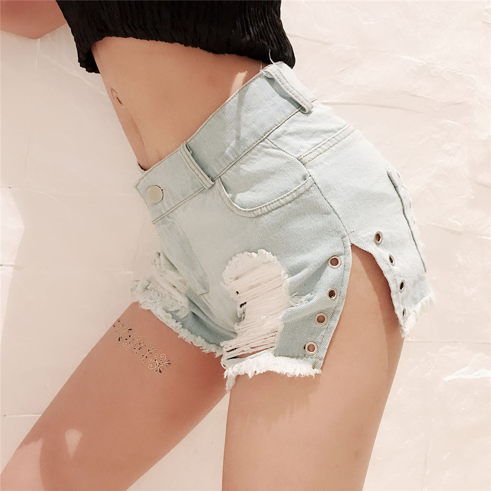 fashion Hair edge Wear out Cat whisker Side opening denim high waist jeans woman befree shorts women jeans short feminino modis in Jeans from Women 39 s Clothing