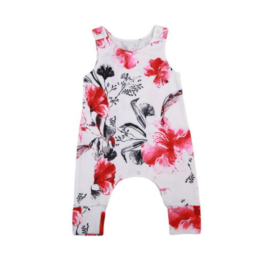 9bcec6167d34 Baby Clothing Baby Kids Girl Infant Floral Romper peony Sleeveless ...