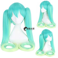 2018 Vocaloid Hatsune Miku Racing Cosplay Wig Gradient Green Long Straight Pigtails Synthetic Hair