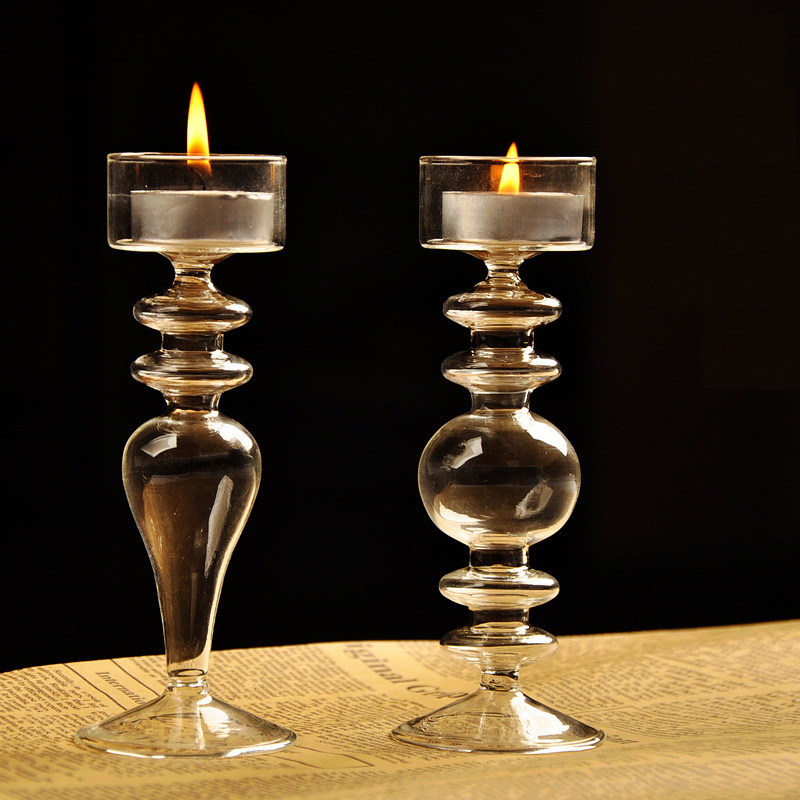 Buy modern transparent glass candle for Christmas candle displays