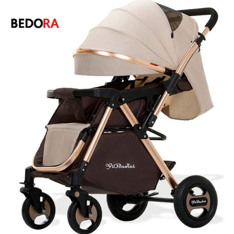 Bedora baby stroller 2 in 1 stroller lie or damping folding light weight Two-way baby four seasons Russia free shipping все цены