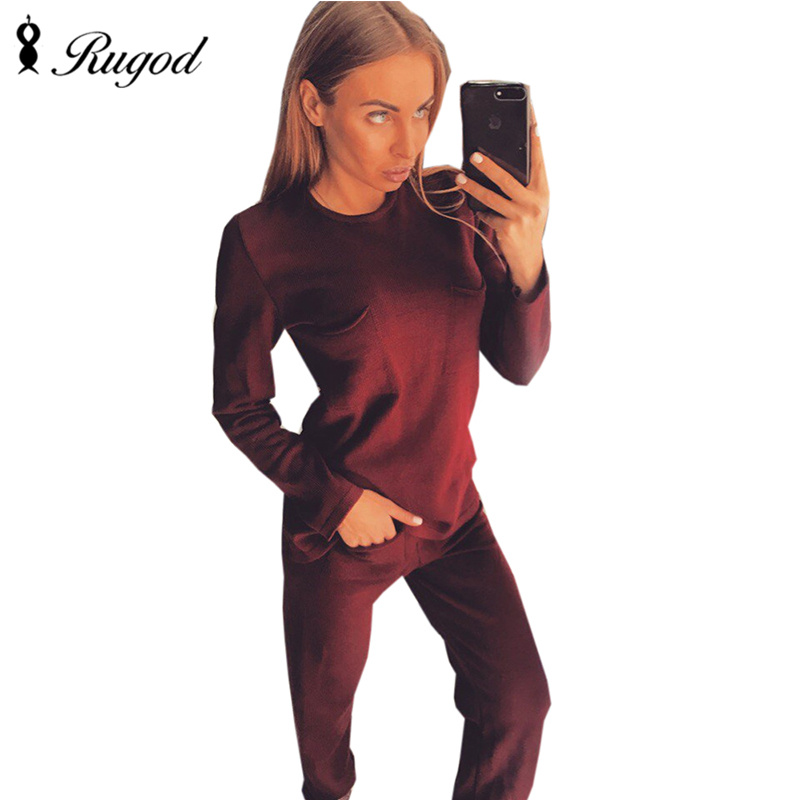 Rugod 2017 Women's Autumn Winter Solid Slim Tracksuit 2 two Piece Set O Neck Sweater tops+ Pants Knitted with Elastic Waist