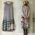 Bosque chica estilo remiendo de la tela escocesa de la vendimia floja básica tank dress hoho mori chica lolita vestidos de festa vestido longo u129