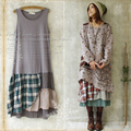 Forest Girl Style Patchwork Vintage Plaid Loose Basic Tank Dress Hoho Mori Girl Lolita Vestidos De Festa Longo Vestido U129