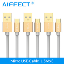 AIFFECT 3 PCs New Arrival Micro USB Cable High Speed Micro-USB B to Data Charging Cord Line 5FTx3