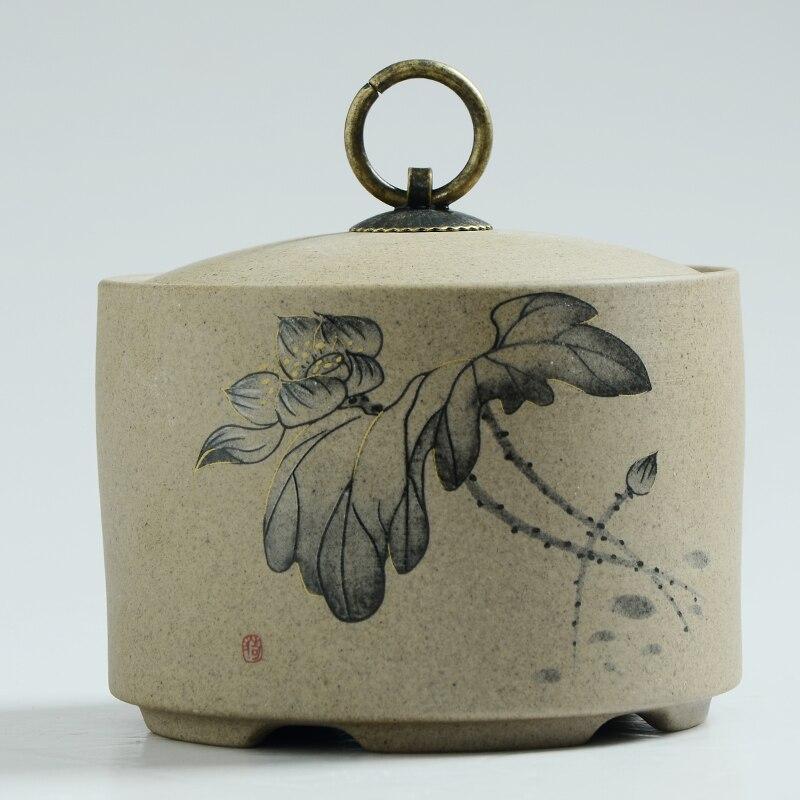 650 ml Cinese ornamenti di Ceramica di Loto Dipinta A Mano Home Storage Organizzazione Vaso | per la Conservazione Chicco di Caffè Tè Caramelle Biscotti Marmellate