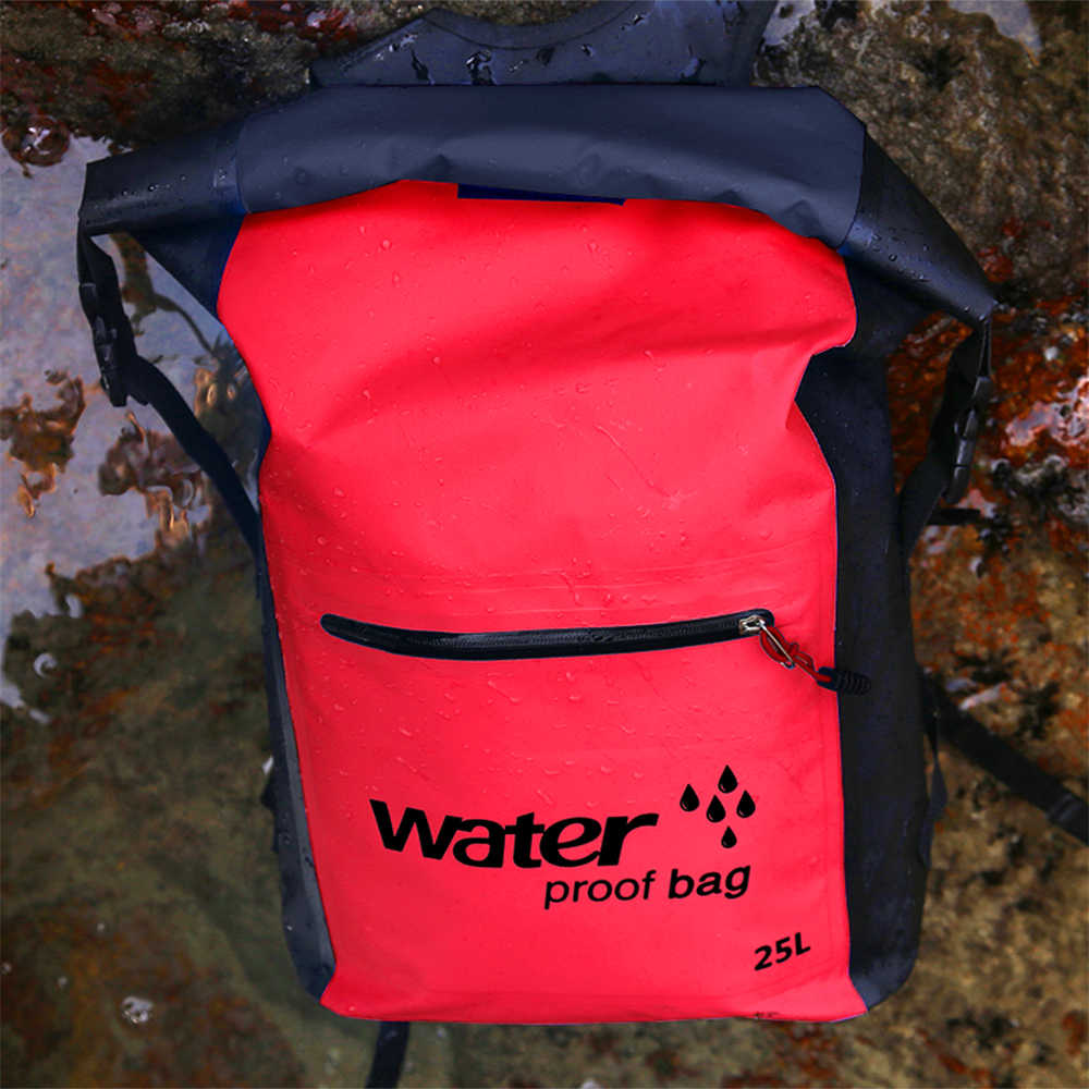 25L Outdoor Waterproof Dry Bag Roll Top Floating Backpack Swimming Bag River Trekking Backpack for Kayaking Rafting Boating