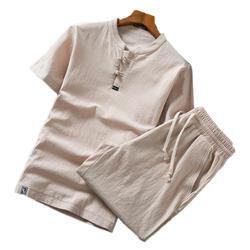 Китайский Стиль Для мужчин с короткими рукавами комплект из 2 частей большой Размеры 5XL Летняя мода Повседневное Для мужчин S Костюмы