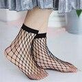 2017 mujeres mallas calcetines primavera/summer transpirable negro atractiva delgada hollow mallas calcetines cortos transparentes calcetines de tobillo