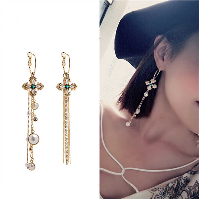 2019 New Hot Ladies' Fashion Cross Earrings Brincos Oorbellen Asymmetric Long Statement Tassel Drop Earrings for Women Jewelry