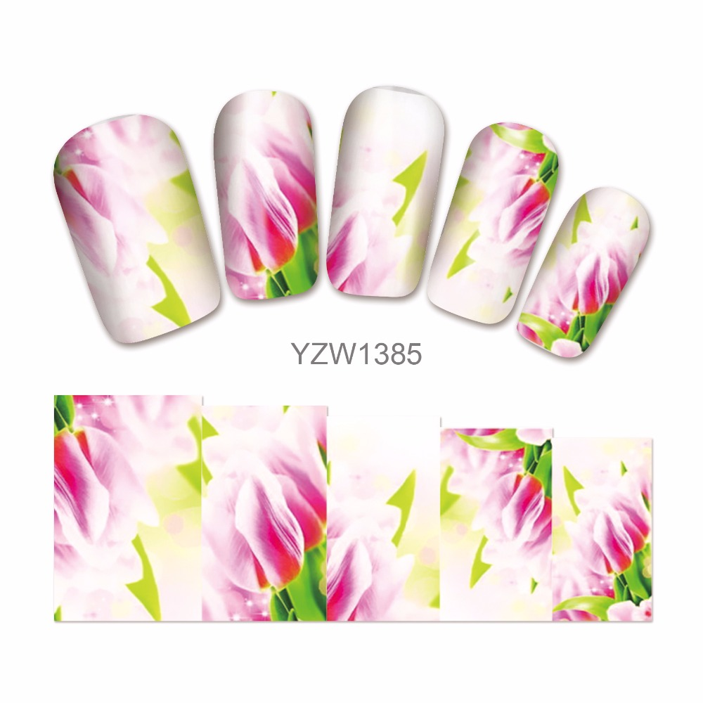 ZKO 1 Sheet Chic Flower Pattern Nail Art Water Decals Transfer Sticker Nails Tips Nail Decoration Makeup Tools 1385 233 style new 8 pcs lot flower nail decals leopard nail art transfer foil sticker tips decoration christmas snow nails