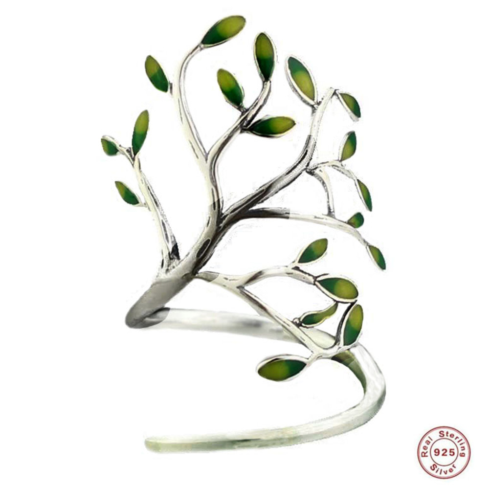 2019 YKNRBPH 100% S925 sterling silver Leaf RingS Female Forest Vintage Drop Glaze Fine Jewelry Ring2019 YKNRBPH 100% S925 sterling silver Leaf RingS Female Forest Vintage Drop Glaze Fine Jewelry Ring