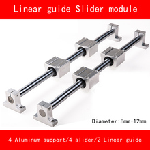 Linear slide module 8-12mm 2 piece linear rail guide length 300mm-500mm 4 piece linear block 4 aluminum alloy support