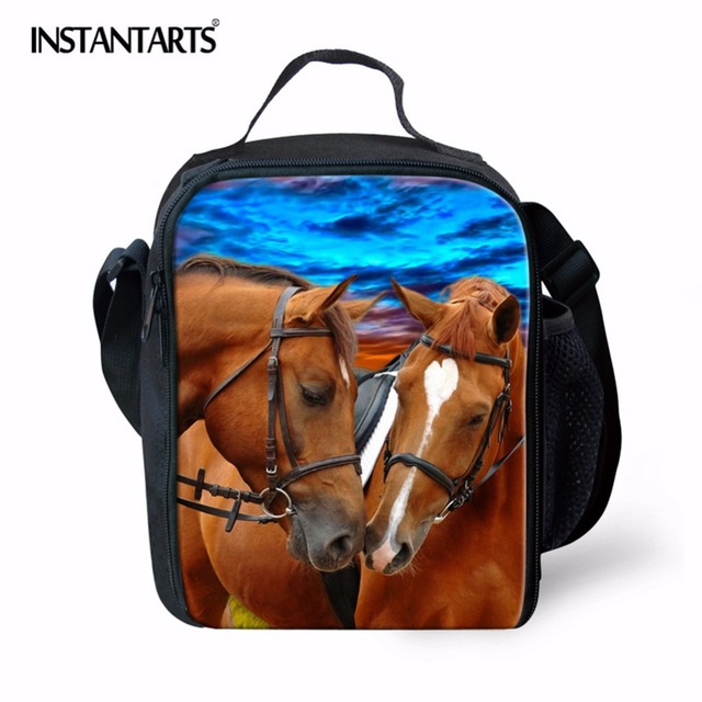 INSTANTARTS 3D Horse Head Printing Thermal Insulated Picnic Bags for Children Men Outdoor Camping Lunch Food Bag Cooler Bag