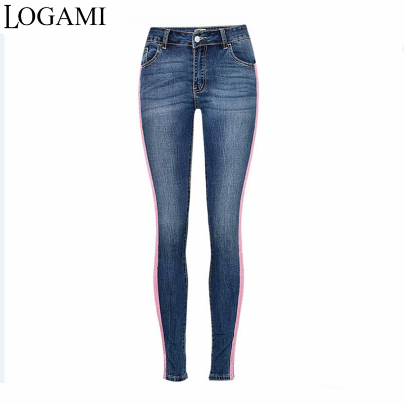LOGAMI Denim Skinny   Jeans   Women Strentch Pencil Pants   Jeans   Slim Woman Casual Blue Pink Patchwork
