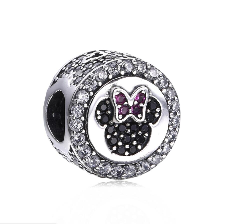 2017 New Real 925 Sterling Silver Minni Mouse Charm Beads Fit Original Pan Bracelet & Necklace Bangle Authentic Jewelry Gift