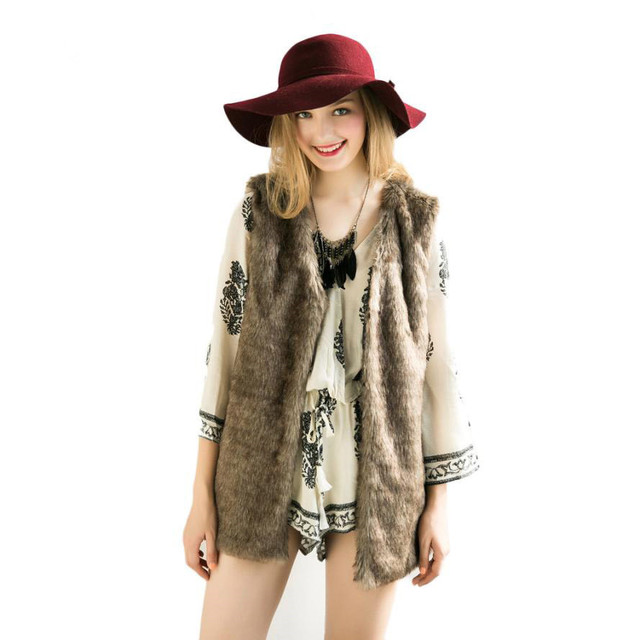 Женщины Зимний Жилет Куртки Искусственного Меха Шерстяные Колющими Черный Мода вскользь Уменьшают Длинные Мода Жилет Пальто Куртки Женщины 2016 Новые Au18