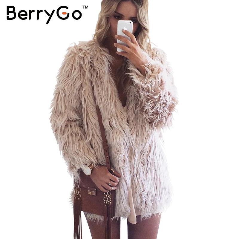 Aliexpresscom  Buy Berrygo Fluffy Faux Fur Coat Women -3899