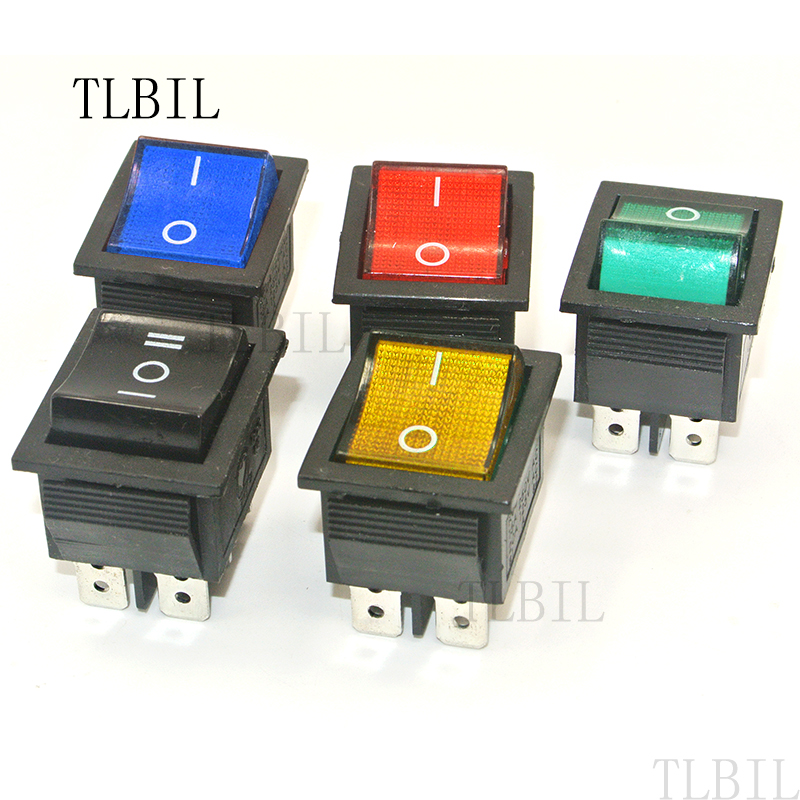 5Pcs Rocker Switch Red Double SPST ON-OFF 6 PIN 15A//250VAC 20A//125VAC KCD4
