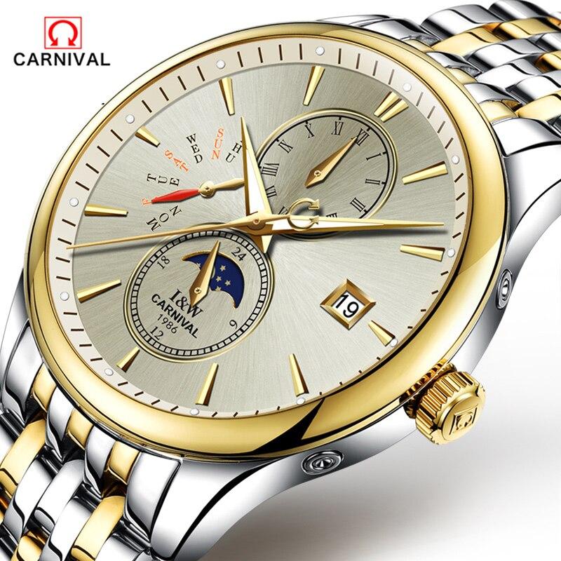 CARNAVAL 2018 Homens Relógios Top De Luxo Da Marca Esporte Relógio Mecânico Ouro Relógio Homens de Aço relógio de Pulso Automático Com a Fase Da Lua Cheia - 3