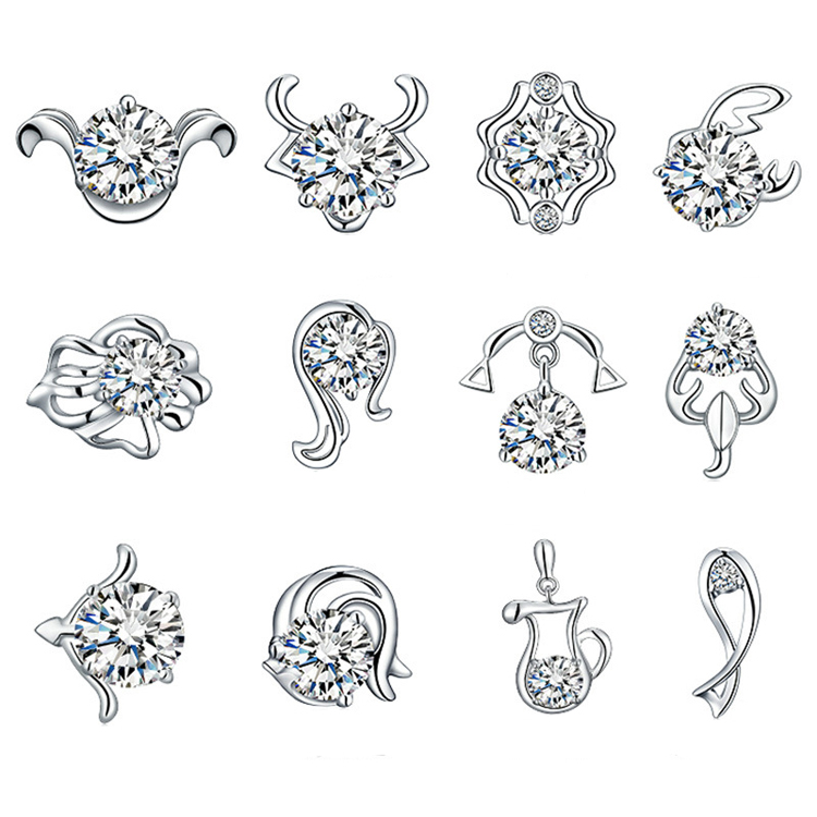 1 Pair Fashion Chic 12 Constellations Zodiac Sign Silver Plated Woman Earrings Jewelry Accessories snap button jewelry