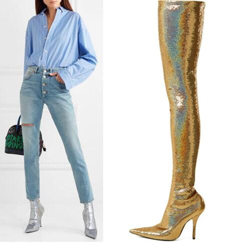 European American foreign trade big size pointed-toe thin high heel ankle boots female bling sequins slim over the knee boots горнолыжная маска oakley oakley o2 xl темно красный