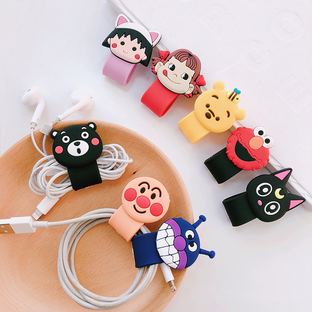 New Design 1 Piece Quality Headphone Cable Winder Cute Cartoon  Cat Bear USB Cable Protector Organizer for iPhone