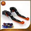 Adjustable Folding Extendable Brake Clutch Lever For KTM 990 SUPERMOTO/R 08 09 11 12 Orange WITH LOGO Free shipping Motorcycle