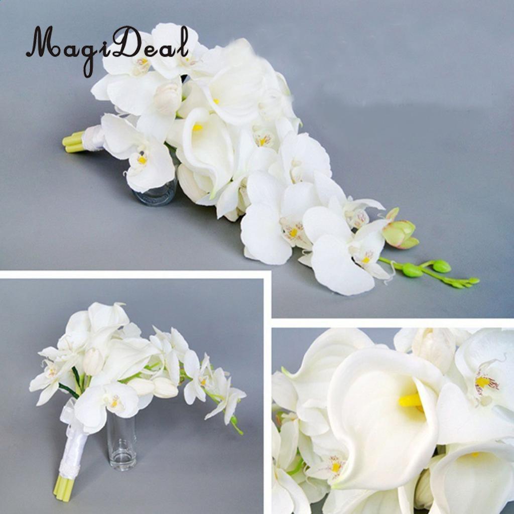 MagiDeal Cascade Bouquet Wedding Bridal Artificial Silk Flower Calla Lily Orchids
